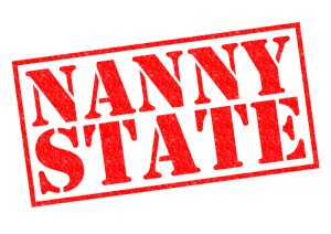NANNY STATE red Rubber Stamp over a white background.